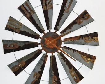 38 Inch Metal Windmill Clock  Farmhouse Clock-wall clock-rustic clock-Windmill Clock -Authentic Windmill-Large Wall Decor-Reclaimed Windmill