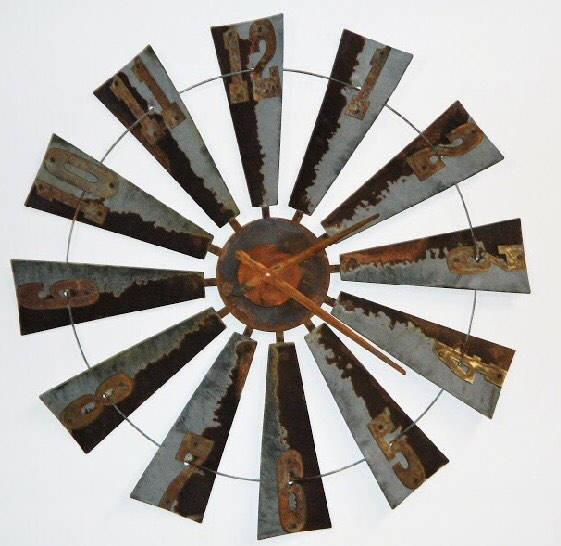 38 Inch Metal Windmill Clock Farmhouse Clock-wall clock-rustic clock-Windmill Clock-Summer Decor-Large- Large Clock-Reclaimed Windmill