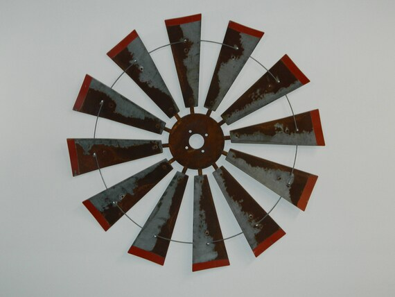 38 Inch Diameter Windmill with Distressed Red Tips