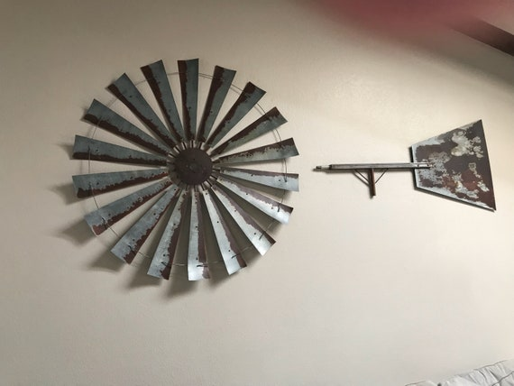 HUGE 60 Inch Diameter Authentic Windmill with Bar + Tail-Fully Functioning-Windmill Wall Art-Windmill Decor-Large Wall Decor-Rusty Windmill