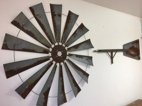 Large 47 Inch Rusty Windmill Head with Bar and Tail