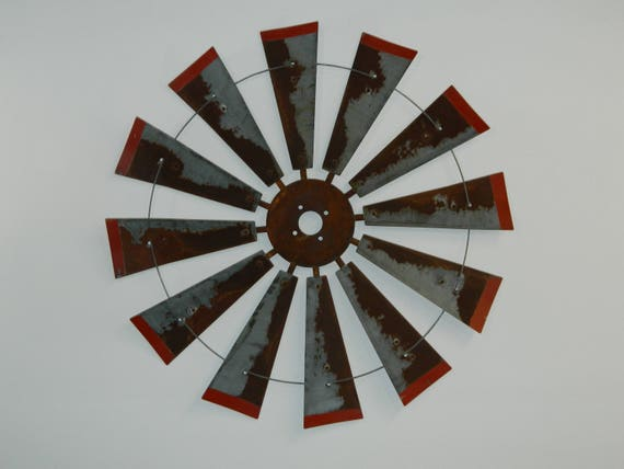 38 Inch rusty windmill with Distressed Red Tips-Wedding Gift-Metal Wall Art-Rustic Windmill-Home Decor-Authentic Decor-Farmhouse Windmill