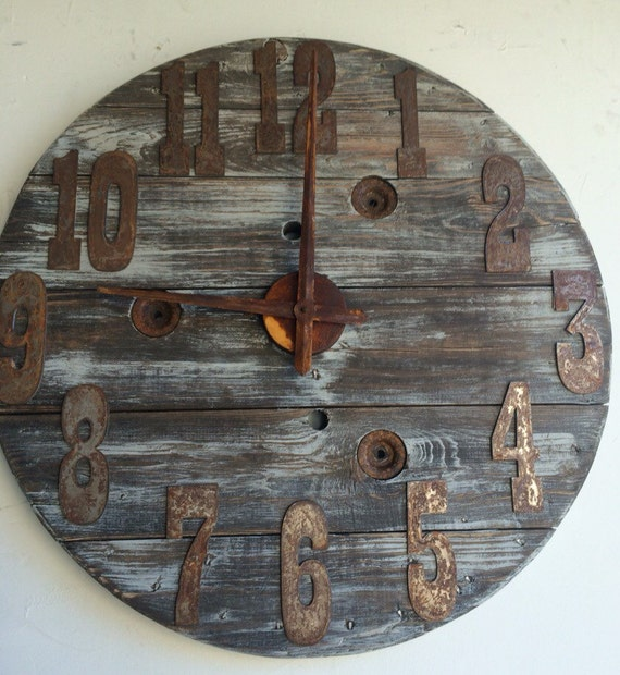 28-32 Inch wood spool clock- Fully customization Numbers and color- handmade- gift - holiday- farmhouse gift-DIY Clock-Spool Clock Parts