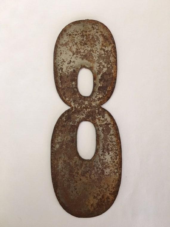 8 Inch Clock numbers 1-12-spool clock-DIY clock-metal numbers-rusty numbers-address numbers-vintage metal- clock numbers-rusty metal-numbers