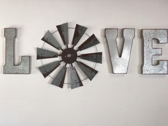 LOVE wall decor with 30 Inch Windmill-metal letters-farmhouse decor-home decor-rustic-windmill-letters-large wall art-Valentine's Day-Spring