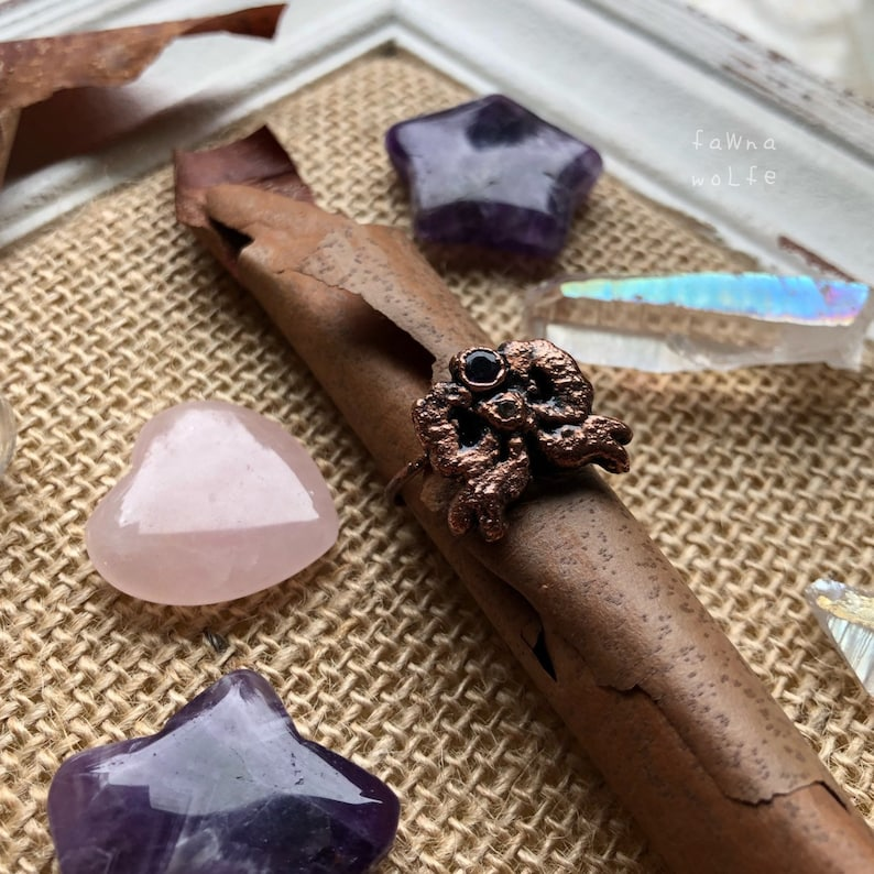 Electroformed Copper Amethyst Ring Size 7.5 Copper Jewelry Amethyst Ring Bow Ring Electroformed Ring Rings