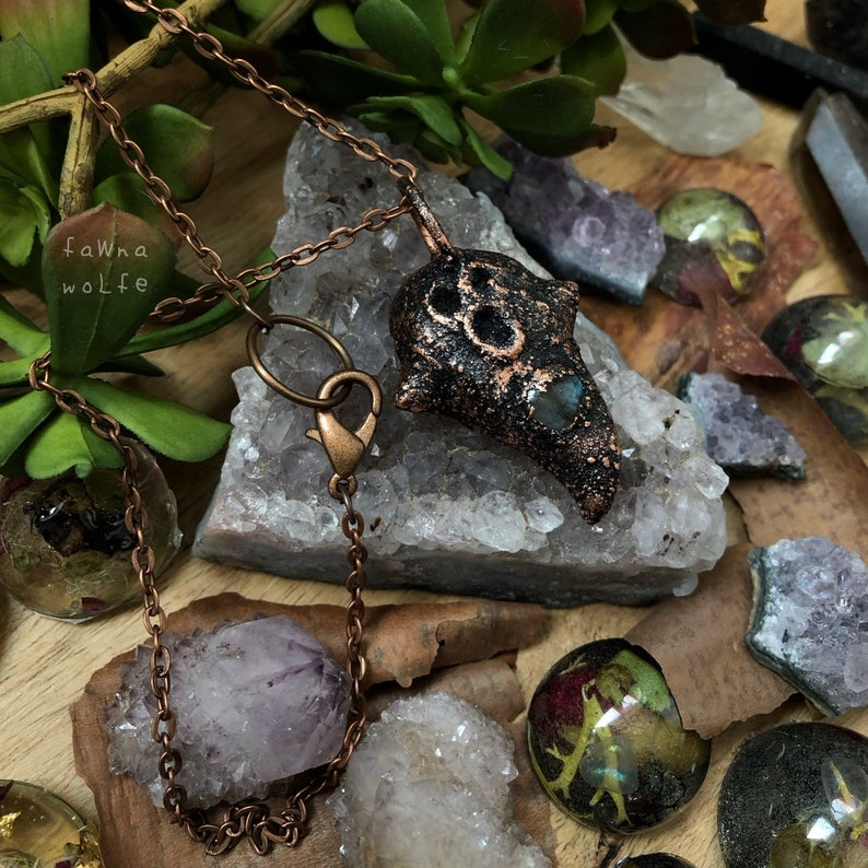 Halloween Ghost Jewelry Copper Electroformed Crystal Jewelry Labradorite Necklace Pendant Electroformed Ghost Necklace Pendant