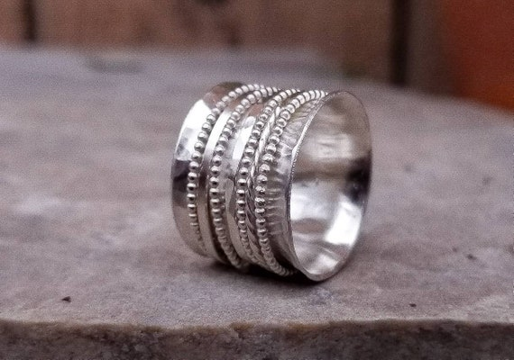 Spinner 925 Sterling Silver Ring Ethnic oxidized Two Tone Wide Band Size 6 7 8 9