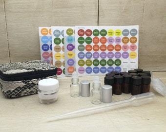 Mini Essential Oil Case with Vials, Roller Bottles & Containers