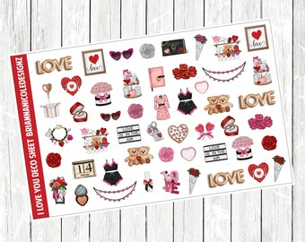 I love you deco planner stickers