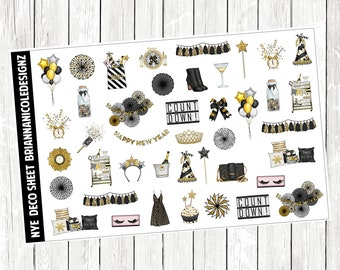 NYE deco sheet planner stickers