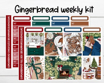 Gingerbread weekly kit planner stickers // Christmas stickers