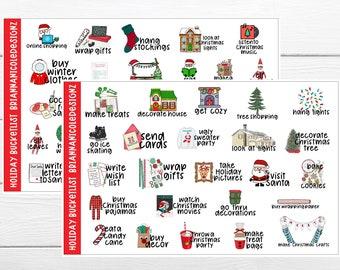 Holiday bucket list planner stickers // Christmas bucket list stickers