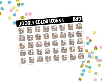 Doodle color icons 1 planner stickers