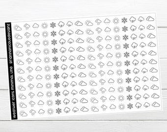 Weather icons minimal line planner stickers