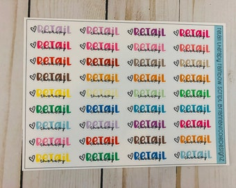 Retail therapy rainbow script planner stickers