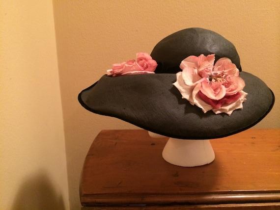 Vintage Broad-Rimmed Flower Hat