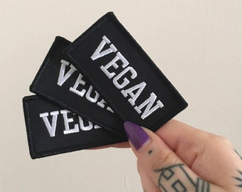 VEGAN Embroidered Iron-on Patch - Ethical - Vegan