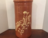 Vintage Greenfield Village Redware Pottery Tall Crock Rust with Folk Art Bird