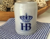 Vintage Hofbrauhaus Germany Stoneware Beer Stein, Made in Germany Salt Glaze, Excellent
