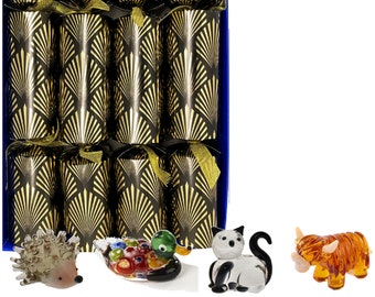 Set of 4 Luxury Christmas Crackers with little glass animals - assorted designs