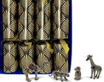 Set of 4 Luxury Christmas Crackers with collectible pewter pets - assorted designs