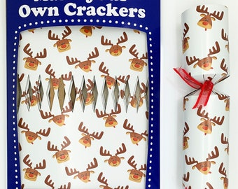Set of 12 Flat Pack Make Your Own Reindeer Christmas Crackers