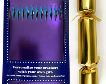 Set of 12 Flat Pack Bright Metallic Make Your Own Christmas Crackers