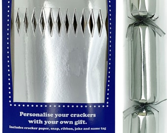 Set of 12 Flat Pack Make Your Own SilverChristmas  Crackers