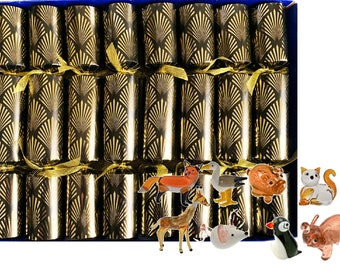 Set of 8 Luxury Christmas Crackers with little glass figurines - assorted designs