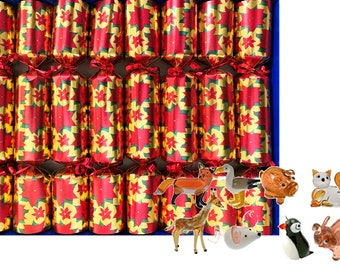 Set of 8 Luxury Christmas Crackers with little glass animal figurines- assorted designs