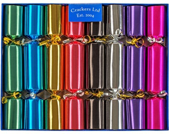Family Christmas Crackers - brightly coloured hand made in the UK with quality gifts
