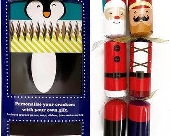Set of 12 Flat Pack Make Your Own Christmas Crackers Festive Characters - Reindeer, Nutcracker, Snowman, Elf, Santa