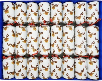 8 Fill your Own Reindeer Christmas Crackers in White