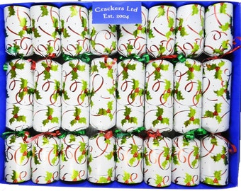 Luxury Glass Figurine Holly and Berry Christmas Crackers - Box of 8 crackers with assorted collectable glass animals