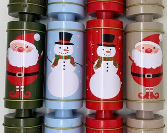 Set of 4 Reusable Tin Christmas Cracker shaped Tins - no snaps, hats and jokes starter pack included - pet safe , travel safe