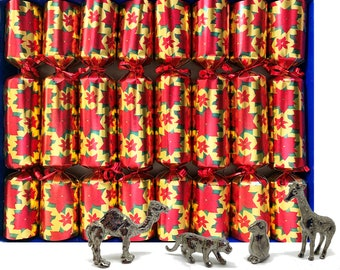 Set of 8 Luxury Christmas Crackers with collectible pewter pets - assorted designs