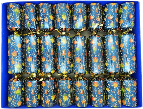Set of 8 Tradiitonal Baubles Christmas Crackers with Nativity Decorations