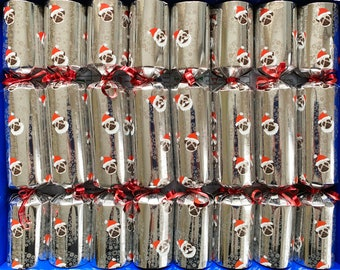 Set of 8 Fill your Christmas Pugs Silver Christmas Crackers