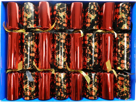 Set of 8 Golden Birds Christmas Crackers with Nativity Decorations