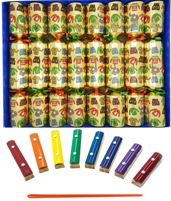 Musical Christmas Crackers with Mini Xylophones - Christmas Jumper Christmas Crackers in Gold