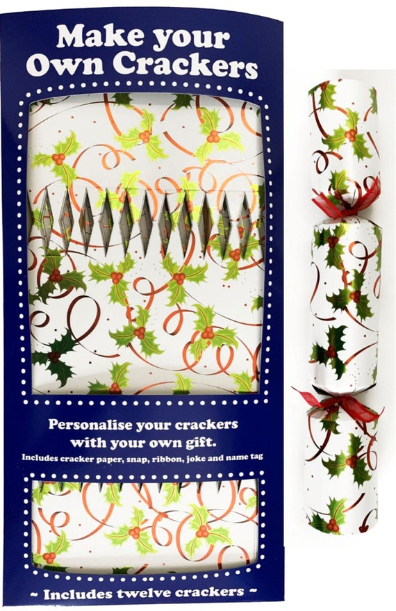 Set of 12 Flat Pack Make Your Own Holly and Berry Christmas Crackers