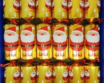 Set of 6 Festive Santa Pamper Crackers Christmas Crackers - Bath Melts, Soaps and Bath Tea Bag