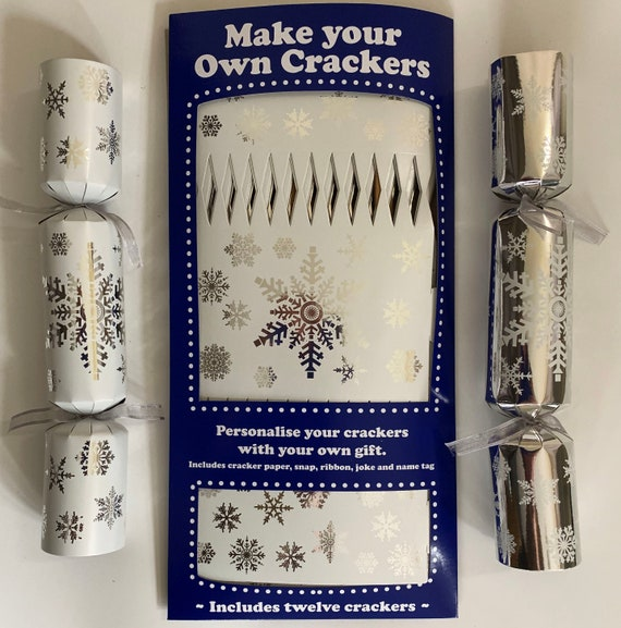 Set of 12 Flat Pack Make Your Own Christmas Crackers Silver Snowflake Design