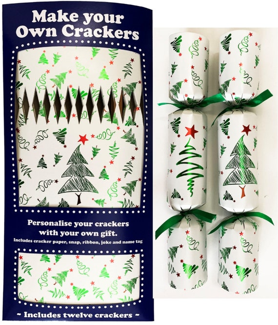 Set of 12 Flat Pack Make Your Own Christmas Crackers 2 assorted Christmas Trees Designs