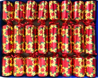 Set of 8 Fill Your Own Poinsettia Design Gold Christmas Crackers