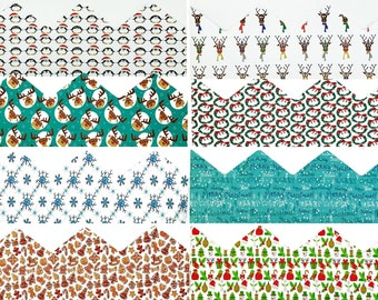 Set of 8 assorted Designer Christmas Paper Hats and Jokes/Trivia Set - suitable for Christmas Crackers