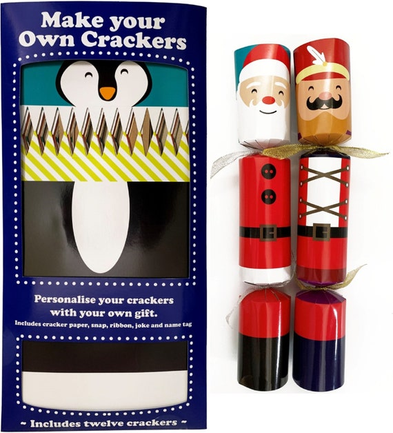 Set of 12 Flat Pack Make Your Own Christmas Crackers Festive Characters - Reindeer, Nutcracker, Snowman, Elf, Santa