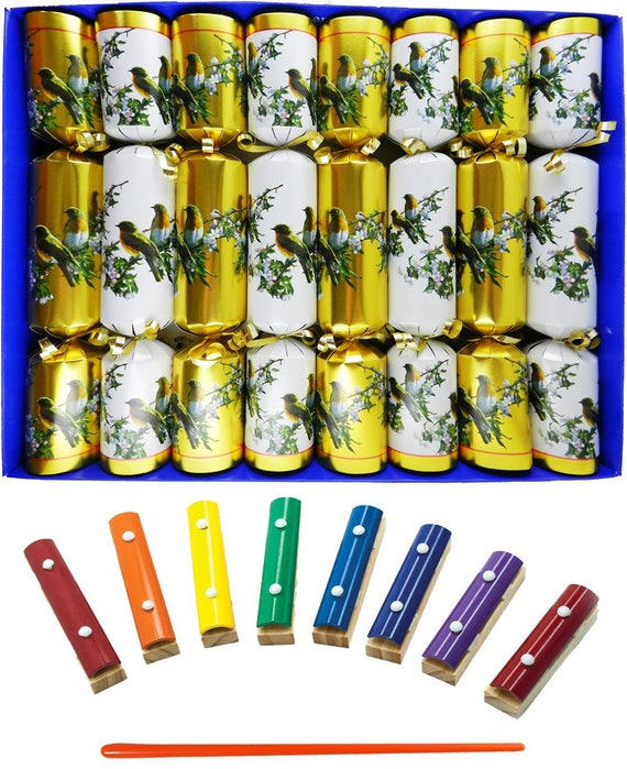 Musical Christmas Crackers with Mini Xylophones - Winter Birds on a Branch Christmas Crackers