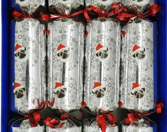 Set of 4 Clockwork Toy Christmas Pugs  Christmas Crackers  - Snowman, Penguin, Santa and Reindeer